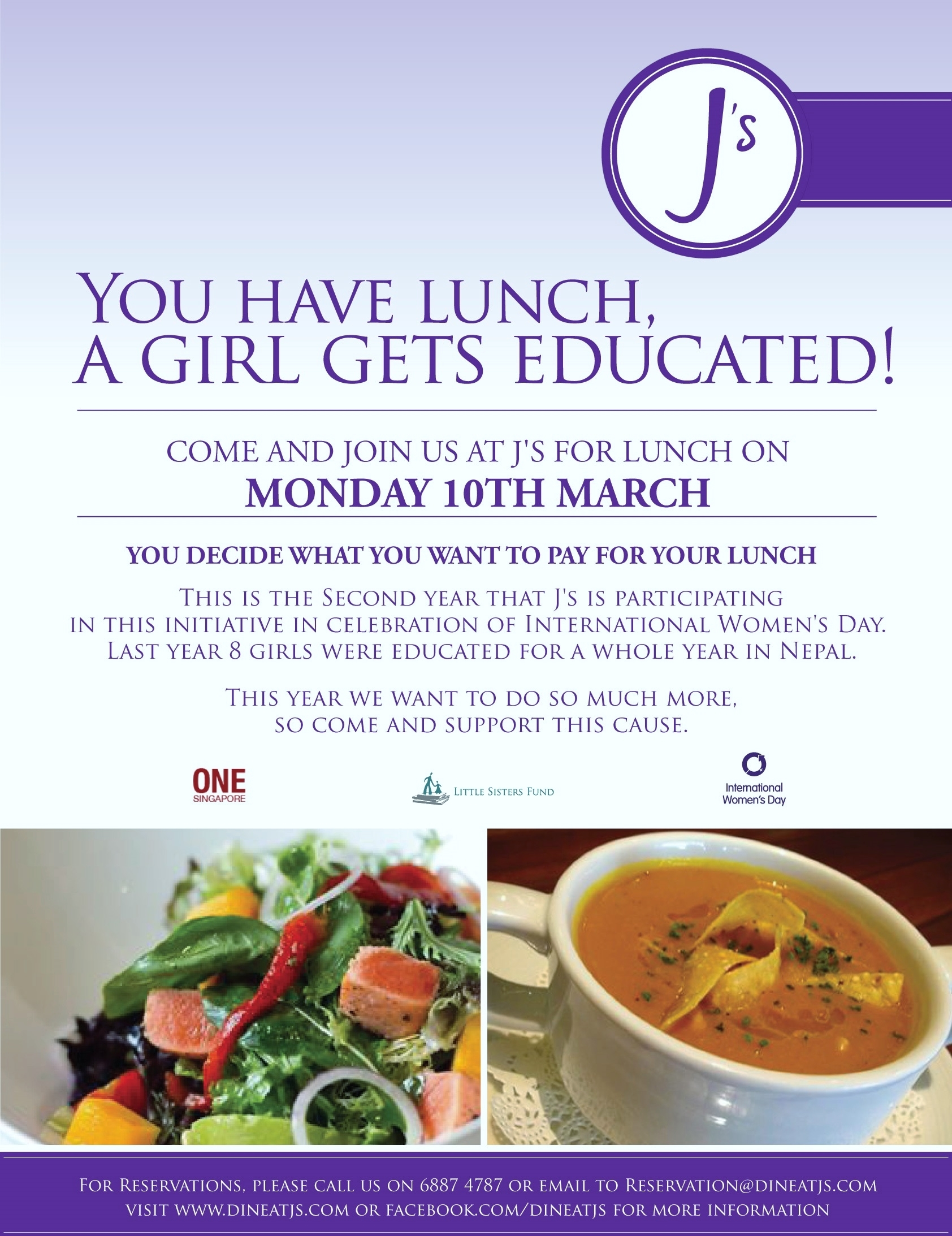 Celebrate Int'l Women's Day with a Great Lunch that Sponsors a Girl's Education